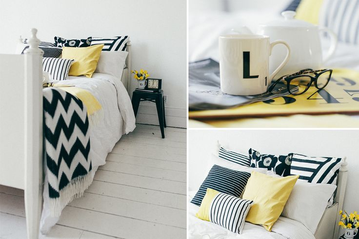 black white and yellow bedroom home sweet home pinterest