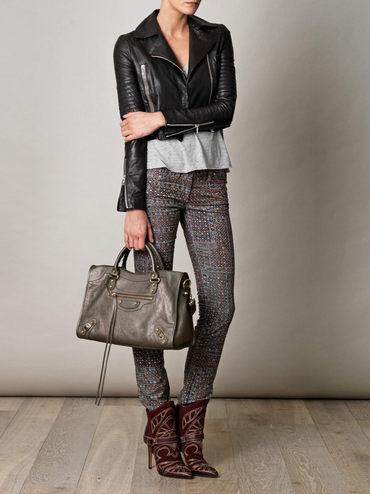 Balenciaga City bag in Bronze, $1,600. Shown with J Brand Aiah leather