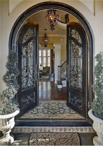 Iron arched french doors home my style pinterest for French doors front entrance