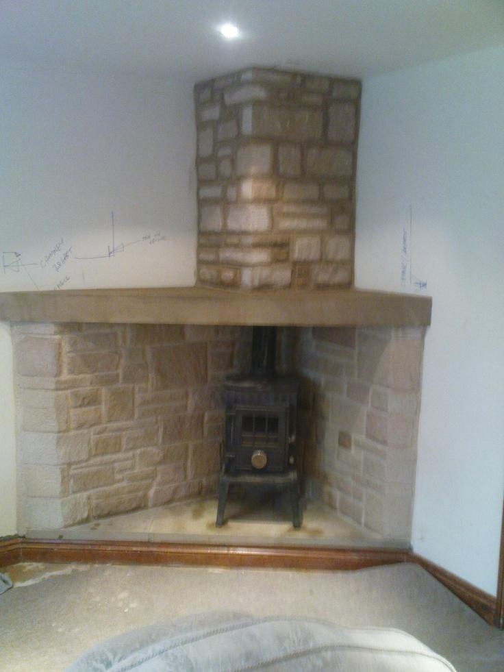 Corner stone fire place corner fireplaces pinterest for Corner stone fireplace