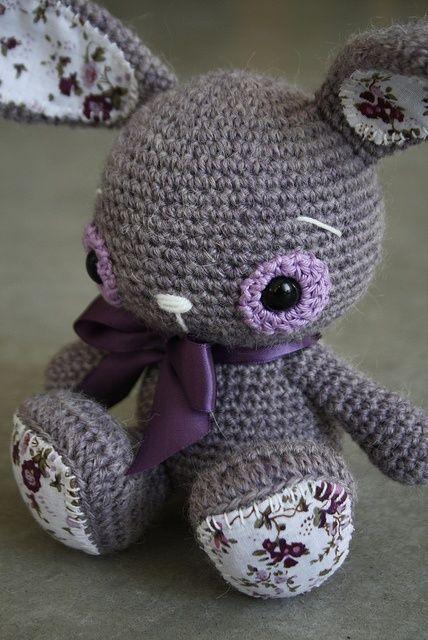Lavender amigurumi bunny.