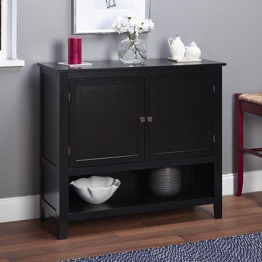 Montego Black Wooden Kitchen Cabinet Buffet Server Dining Room Shelve