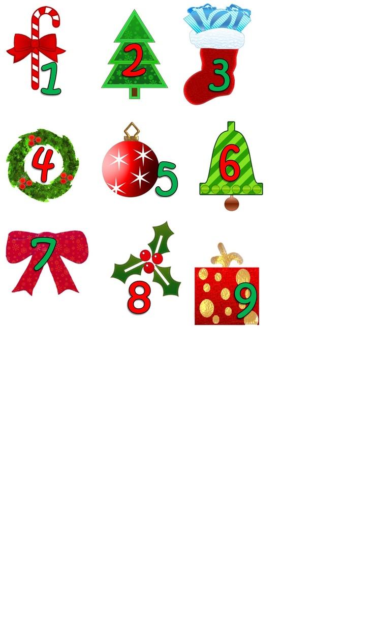 Advent Calendar Numerals 1 - 9 Copy, Crop, Enlarge, Print