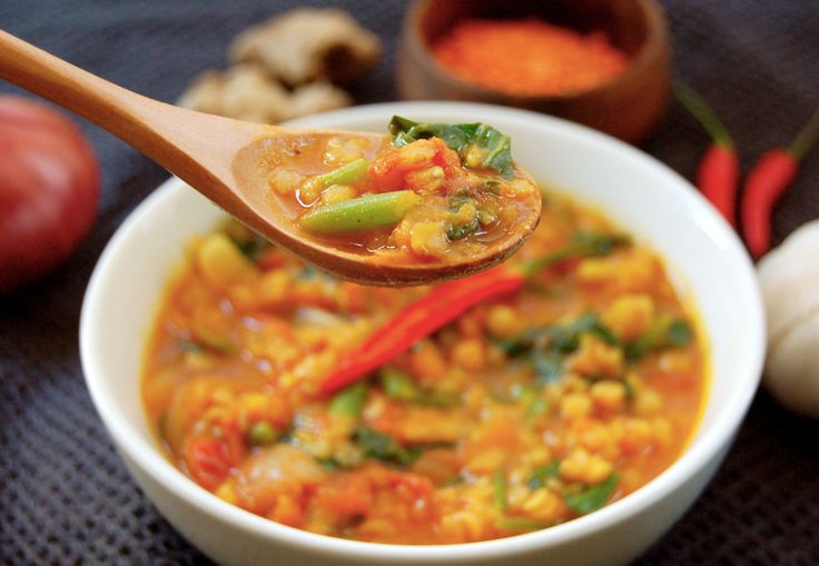 Spicy Tomato and Lentil Soup! Made from only fresh vegetables, lentils ...