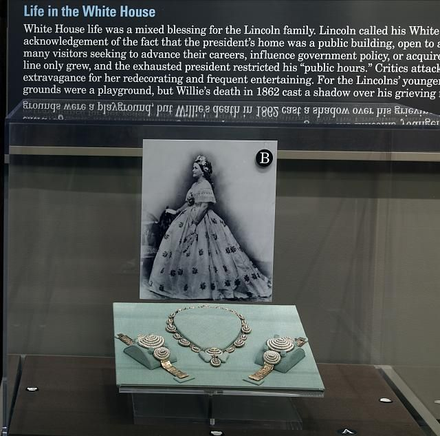 Mary Todd Lincoln's seed pearl necklace and bracelets on exhibit at the Abraham Lincoln Bicentennial Exhibit. Library of Congress Thomas Jefferson Building, Washington, D.C.]  One can see Mary wearing this favorite set of pearl necklace and bracelets in many of her portraits.