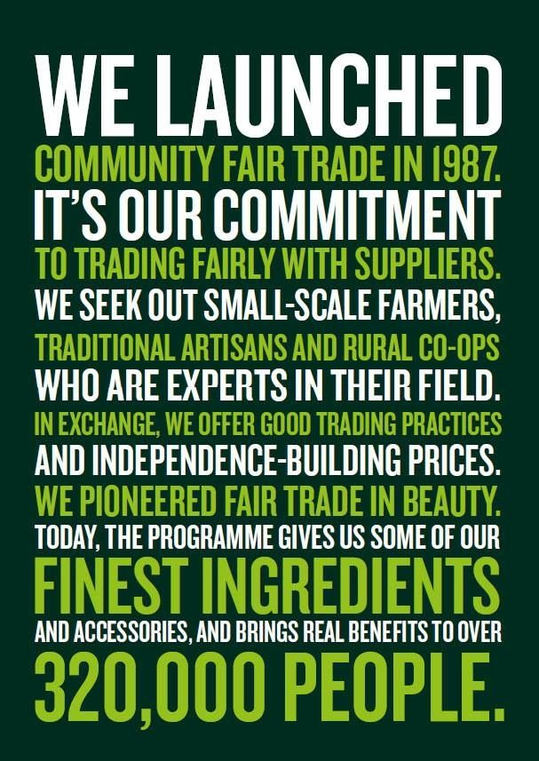 fair trade policy the body shop The body shop community trade program stems from the company's commitment the fair trade department set up measures to deter communities seeing the body shop as.
