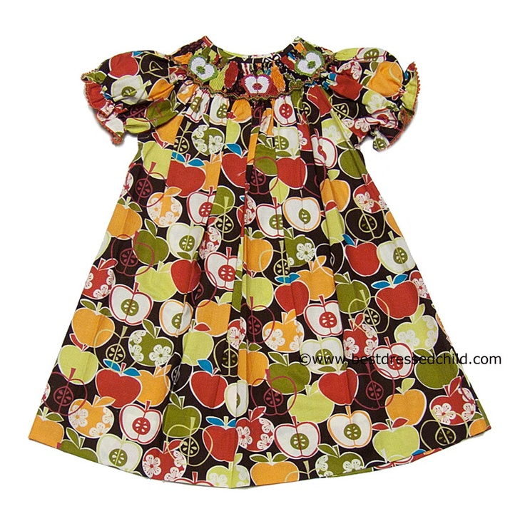 Vive la Fete Girls Autumn Apples Print Smocked Apple Bishop Dresses