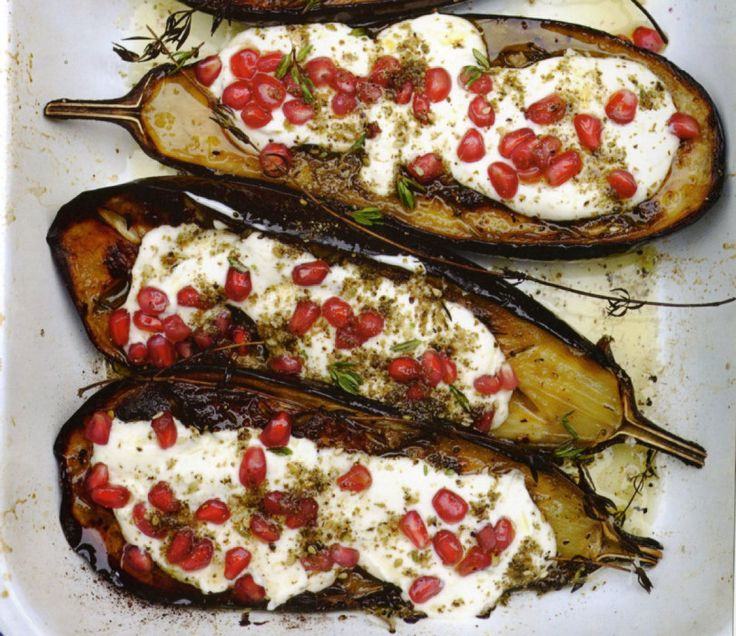 Roasted eggplant with buttermilk sauce -ottolenghi (plenty)