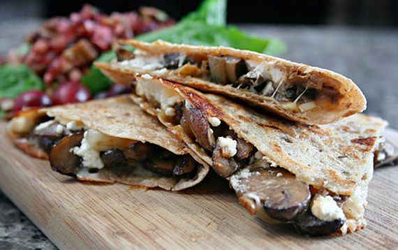 Wild Mushroom and Goat Cheese Quesadillas with Cranberry-Pecan Salsa