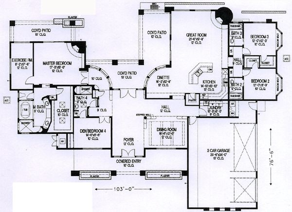 Santa fe southwest house plan 54700 for Santa fe style house plans