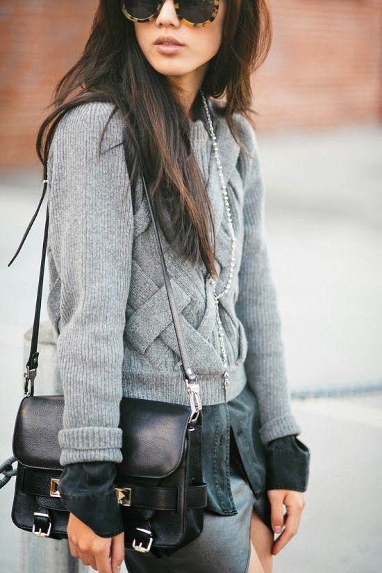 Grey Cable Sweater With Black Handbag