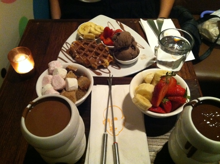 Chocolate fondue & chocolate waffles from Max Brenner [[Sydney ...