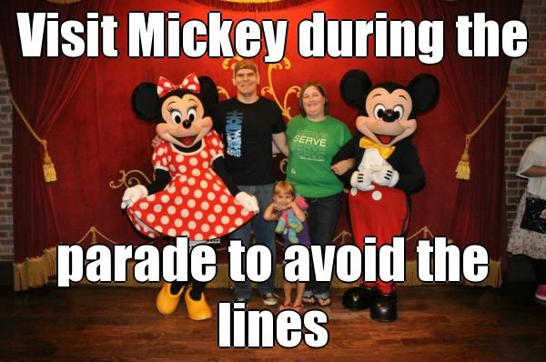 Visit Mickey during the  parade to avoid the lines  Contact me https://www.facebook.com/mickeyinstyle for more tips and tricks!  (courtesy of @Pinstamatic http://pinstamatic.com)