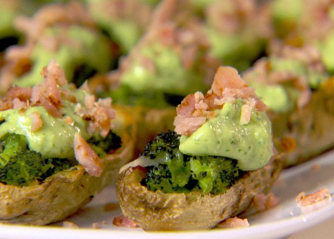 One serving of these Broccoli and Cheddar-Stuffed Potato Skins with ...