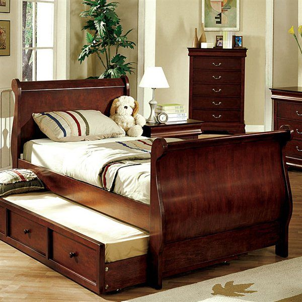 Furniture Of America Cm7828ctr Louis Philippe Jr Kids Sleigh Bed Wit