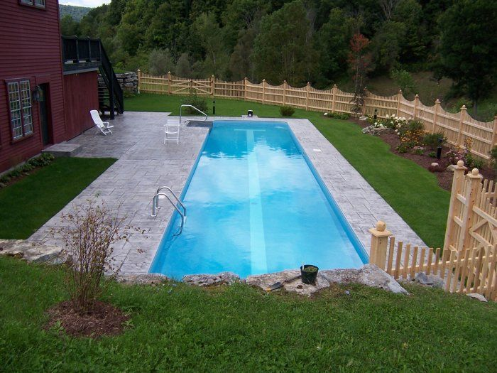 Backyard Rectangle Pools : Cool rectangular rural backyard pool  Awesome Inground Pool Designs
