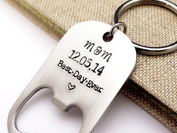 bottle opener wedding favor best day ever personalized bottle opener keychain gift. Black Bedroom Furniture Sets. Home Design Ideas