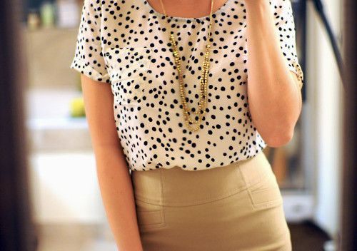 White voile blouse with black polka dots & neutral tone skirt