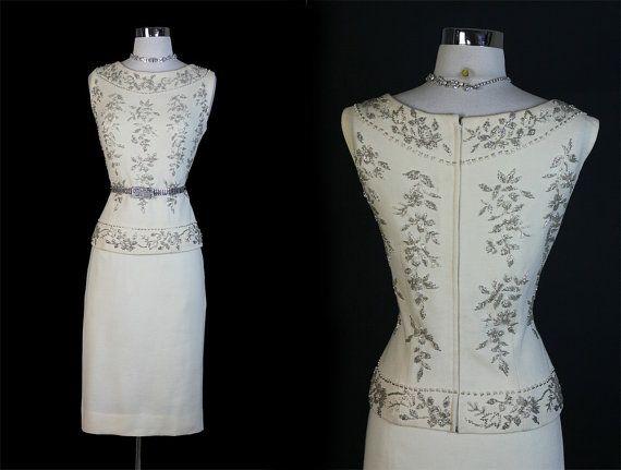 Vintage s cream beaded wool knit wedding dress