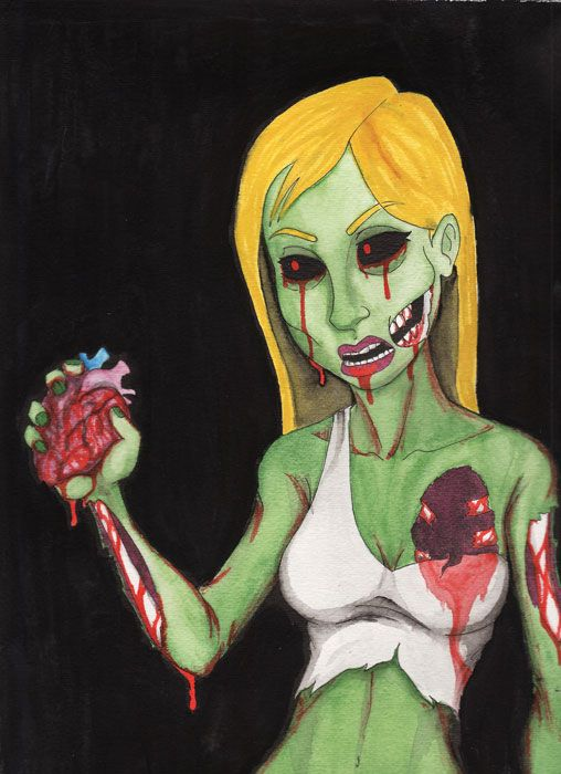 Zombie Girl 2 - watercolor painting by Ryan  quot Chopsy quot  Harrison  This is    Zombie Watercolor Painting