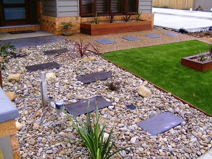 front yard pebbles pavers finds landscaping pinterest