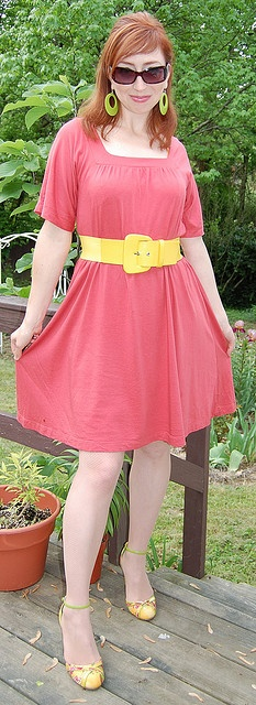 Jersey dress, The Limited. Belt, Xhilaration. Shoes, Miss Me