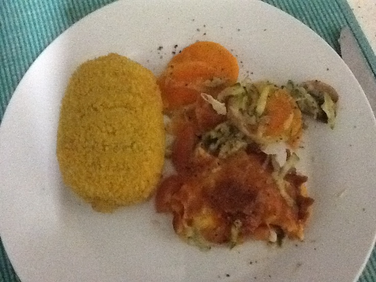... Chicken Kiev with a zucchini, sweet potato, mushroom and tomato baked