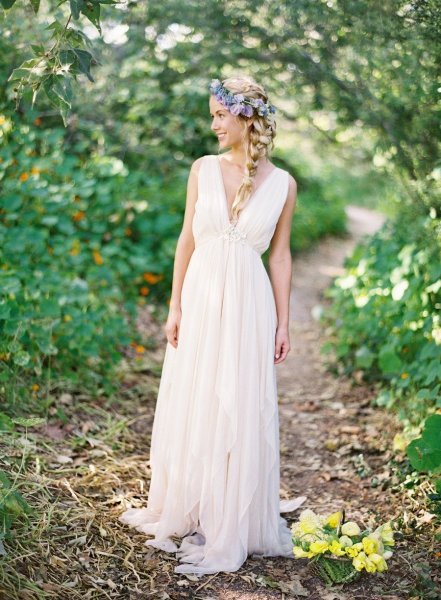 Grecian wedding dress. This is SO pretty and I love the flower crown!