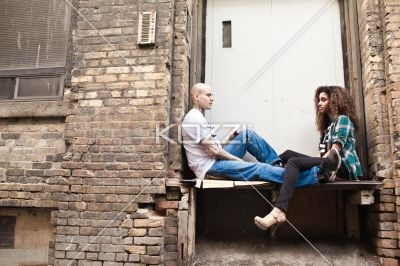 girl and boy - Close shot of girl and boy on a loading dock.   MUA - Wright Artistry