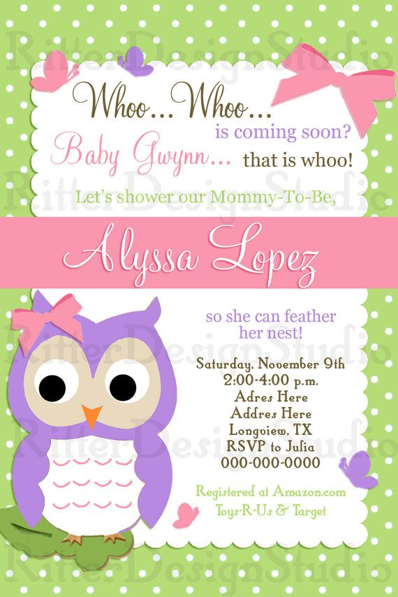 Baby Shower Invitation Backgrounds Free Interesting Owl Baby Shower Invitation Owl And Polkadots Design Printable File .