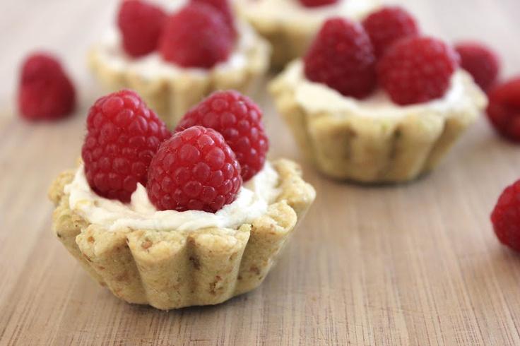 Raspberry, Mascarpone, and Pistachio Tarts