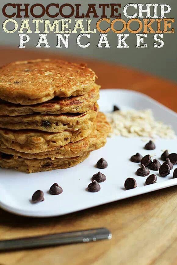 Chocolate chip oatmeal pancakes | good eats :) | Pinterest
