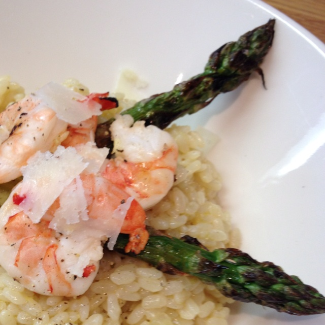 Lemon risotto with grilled asparagus and spicy grilled shrimp.