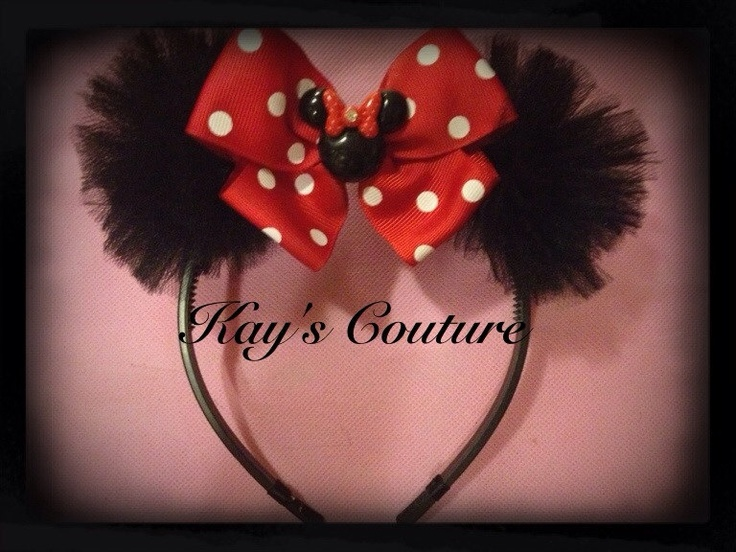 Minnie Mouse Ears Headband. Perfect for parties & Disneyland.. $12.00, via Etsy.  I could make this :)