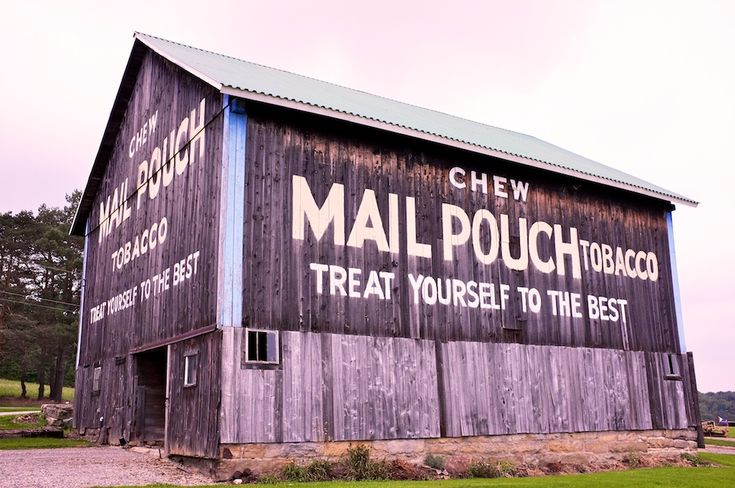 West Virginia Mail Pouch chewing tobacco, 1890–1992 painted barn advertisement
