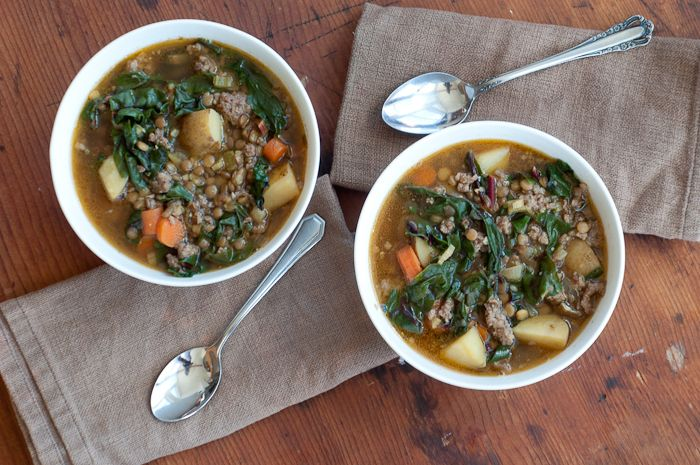 Chard, Lentil and Potato Soup with Sausage. I made this tonight and it ...