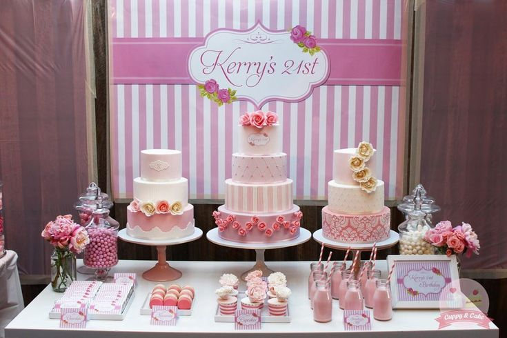 Decorate Birthday Party Cake Table : A 21st birthday cake table Cake, Cake, Cake!! Pinterest