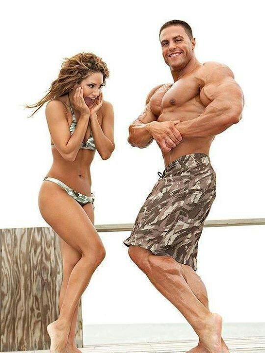 Hot fit couple working out