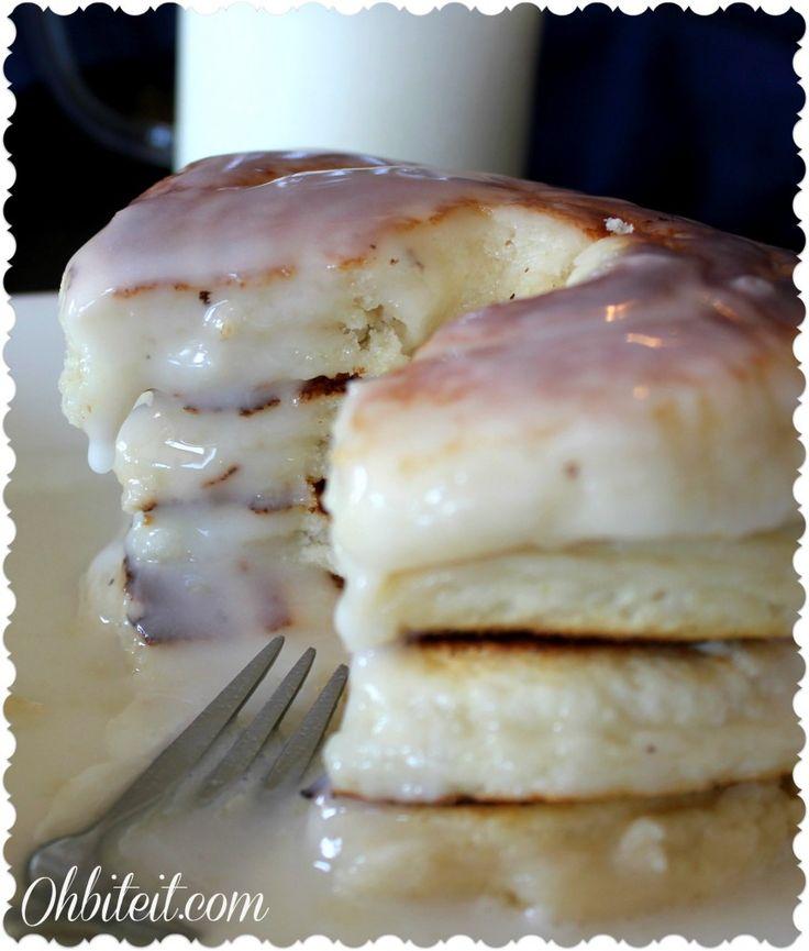 Glazed Doughnut Pancakes!   Oh Bite It