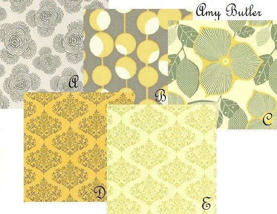 Nursery fabrics yellow grey fabric pinterest for Yellow nursery fabric