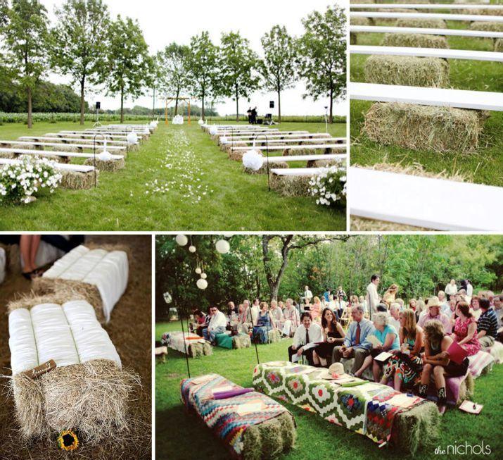 farm wedding, hay bale & board seating, quilts
