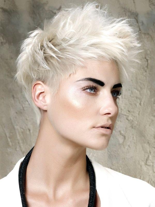 white short hair + smoldering eye + supa dark brow + amazingly luminous skin