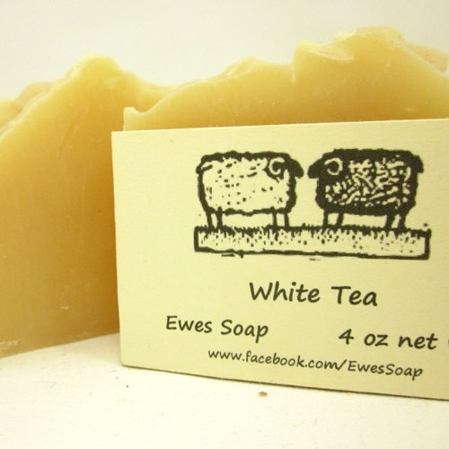 White Tea Natural Handmade Soap with Shea Butter Cold Process Body Bar | EweniqueEssentials - Bath & Beauty on ArtFire