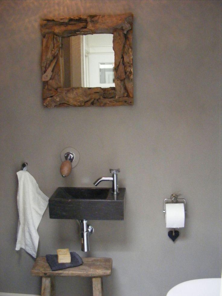 oud krukje, drijfhout spiegel, natuursteen wasbak  Huis inrichting  toilet # Wasbak Spiegel_194739