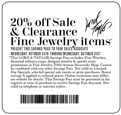 Lord and taylor coupon january 2018