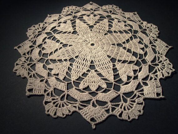 Free Crochet Star Doily Pattern : Small crochet doily with star pattern