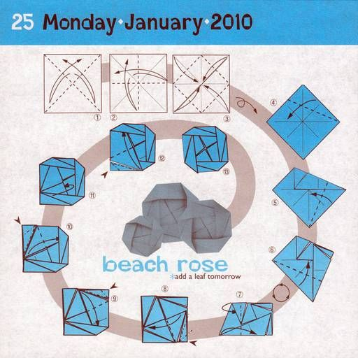 Instructions for origami beach rose.   Origami   Pinterest Origami Rose Instructions
