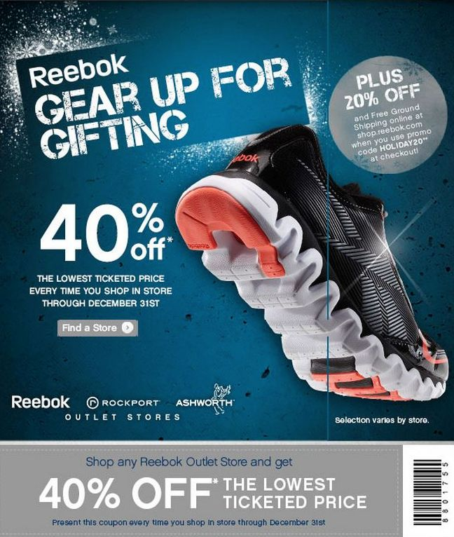 Up to 40% Off Reebok Outlet Gear, Apparel, and Equipment Save up to 40% off an incredible selection of athletic and casual gear for men, women, and kids. Prices as marked.