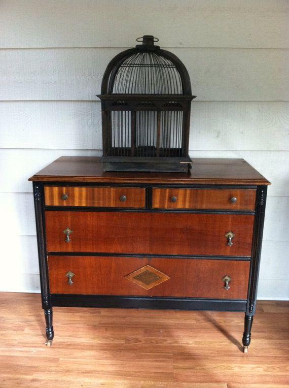 Compainting Wood Furniture Black : ... Dresser Painted Black With Stained Wood - Painted Furniture