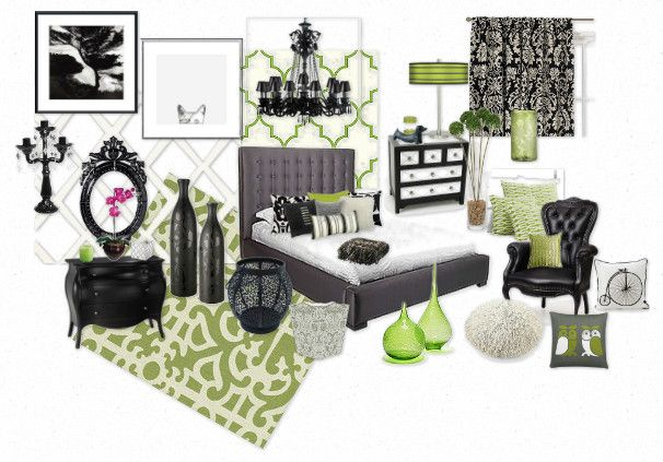 Black White Grey And Green Bedroom For The Home Pinterest